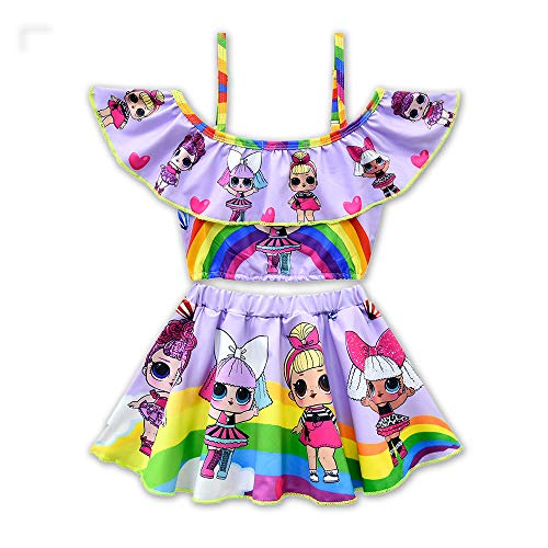 Rohero Toddler Baby Girls Swimsuits Two Piece Doll Print Ruffle Swimwear Bathing Suit for Doll Surprised (120cm/ 5-6Y, Rainbow Purple 1)