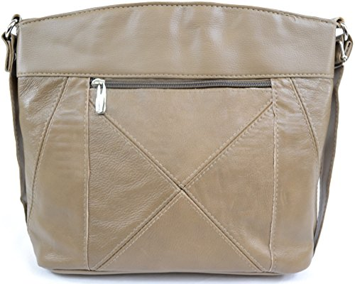 Fawn Body with Multiple Cross Shoulder Pockets Bag Leather Womens Ladies IwqBPxvzI