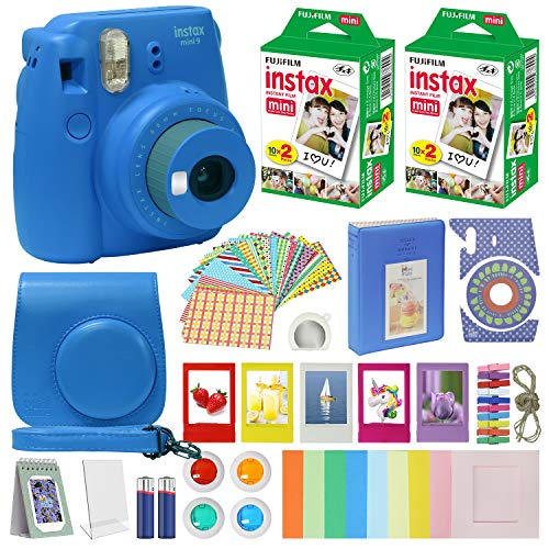 Fujifilm Instax Mini 9 – Instant Camera Cobalt Blue with Carrying Case + Fuji Instax Film Value Pack (40 Sheets) Accessories Bundle, Color Filters, Photo Album, Assorted Frames, Selfie Lens + More
