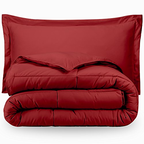 Bare residence especially soft Premium 1800 Series Goose straight down choice Comforter Set Hypoallergenic All Season Plush Siliconized Fiberfill whole Queen Red
