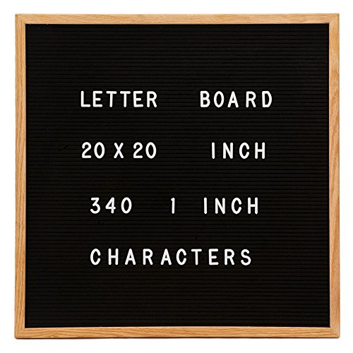 Changeable Letter Board, Large 20'' x 20'' Inch Oak Wood Frame, Black Felt, 340 1 Inch Characters in Pouch - Larger than most Boards by Beryland