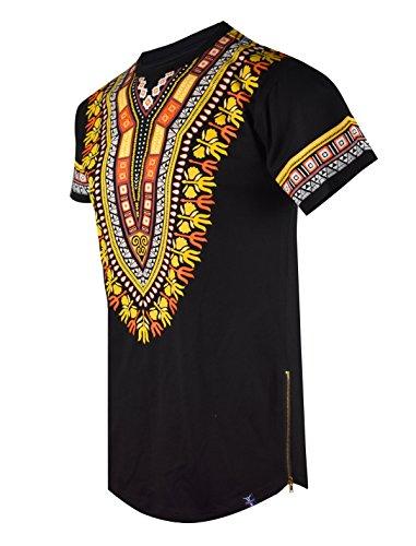 SCREENSHOTBRAND-S11838 Mens Hipster Hip-Hop Premium Tees - Stylish Longline Fashion T-Shirt Dashiki African Design Pattern-Black-Medium (Best African Fashion Designers)