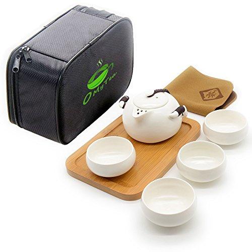 OMyTea Handmade Chinese / Japanese Vintage Kungfu Gongfu Tea Set with a Portable Travel Bag (White)
