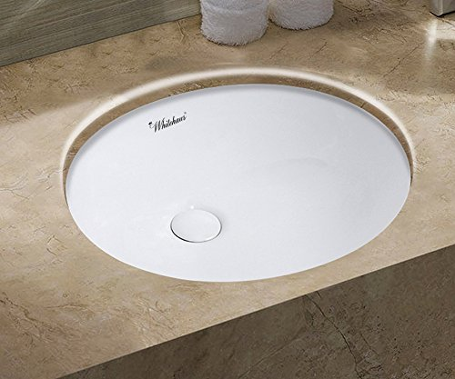 Whitehaus Collection WHU71001 Isabella Plus Collection 16 Inch Oval Undermount Basin with Overflow and Rear Center Drain, ()