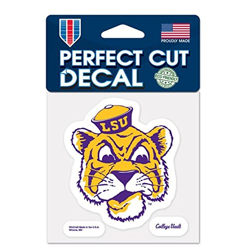 LSU Tigers Official NCAA 4 inch x 4 inch Die Cut Car Decal b