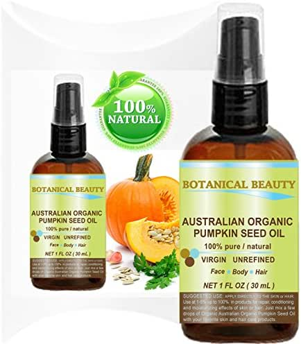 ORGANIC PUMPKIN SEED OIL Australian. 100% Pure / Natural / Undiluted /Unrefined Cold Pressed Carrier oil. 1 Fl.oz.- 30 ml. For Skin, Hair, Lip and Nail Care.
