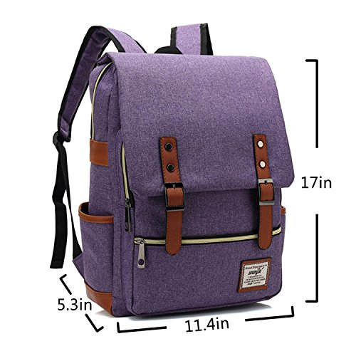 Canvas Backpack - Lightweight Laptop Backpack, Vintage Travel Backpack with Laptop Sleeve, Campus Backpack with Side Pockets Canvas Rucksack for School Working Hiking (purple) by GoTravel2 (Image #1)