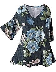 T-shirt voor dames, bedrukte blouse, tops, los hemd, sweatshirt met lange mouwen, zomerjurk, 2/3 lange mouwen, V-hals, casual T-shirt, linnenlook, vrijetijdshemd, elegant bovenstuk