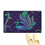 zojihouse Ethnic Bath Mats for Floors Peacock Bird with Oriental Feather Before Eastern Spiritual Animal Image Size:16'x24' Purple Green Blue