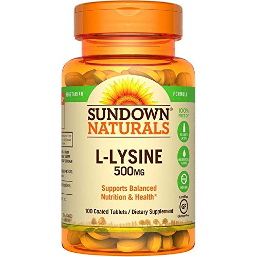 Sundown Naturals L-Lysine 500 mg Essential Amino Acids, 100 Tablets