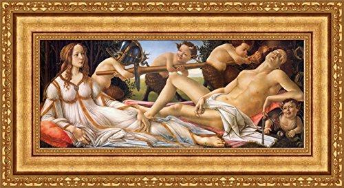 Sandro Botticelli Venus and Mars Framed Canvas Giclee Print - Finished Size (W) 28.1'' x (H) 15.1'' [Gold] (V16-13K-MD535-01) - Venus And Mars Botticelli