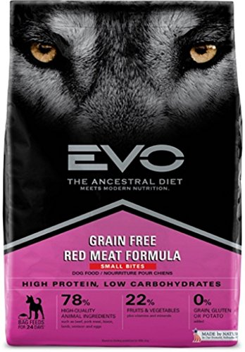 Bites Red Meat Formula (Evo Grain Free Red Meat Formula Small Bites Dry Dog Food 28.6 Pounds, 1)