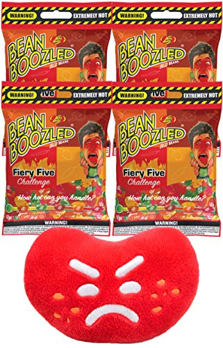 Jelly Belly Beanboozled Fiery Five Jelly Beans Grab & Go Bag, 1.9 Ounce (Pack of 4) with Jelly Belly Mini Emoji Plush