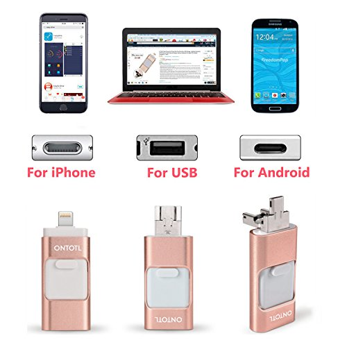USB Flash Drives Compatible iPhone/iOS 128GB [3-in-1] Lightning OTG Jump Drive, ONTOTL USB 3.0 Thumb Drive External USB Memory Storage, Flash Memory Stick Compatible Apple, iPad, Android & PC (Pink) by ONTOTL (Image #1)