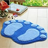 Super Soft Nonslip Microfiber Lovely Flocking Big Feet Pad Floor Mat Bedroom Area Rug Carpet 58.5*38.5cm, 5 Colors Available (Blue)