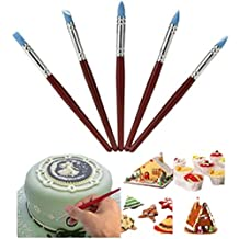 Lesirit 5pcs Silicone Brush Pen Icing Cake Decorating Shaping Fondant Shapers Polymer Clay Sculpting Modelling Tool (Red)