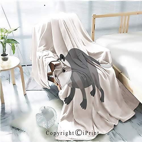 AngelSept Printed Throw Blanket Smooth and Soft Blanket,Cute Cartoon Opossum on Isolated White Background for Sofa Chair Bed Office Travelling Camping,Kid Baby,W31.5 x H47.2 ()