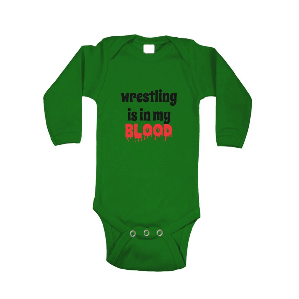 Wrestling is in My Blood Sport Baby Combed Ring-Spun Cotton Bodysuit One Piece - Kelly Green, Newborn by Cute Rascals