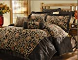 9 Pc. Oversized/Overfilled Chocolat Brown / Gold / Rust Floral Jacquard Comforter Set, Queen
