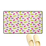 Bath Mat,Popsicles in Cartoon Style Scattered on Polka Dot...