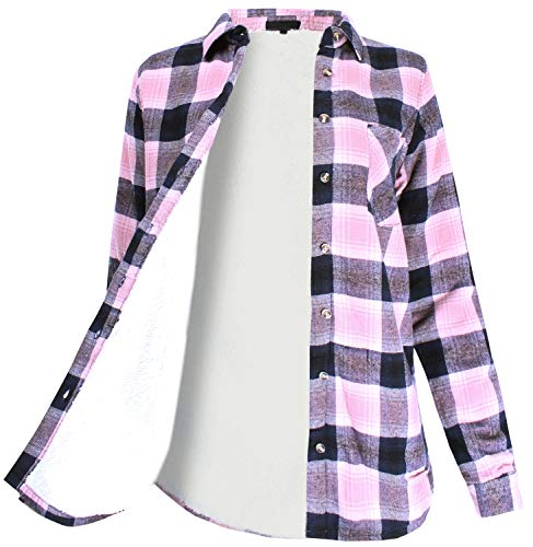 - Winter Flannel Plaid Button Down Top with Sherpa Fleece Lining Mauve Navy S Size