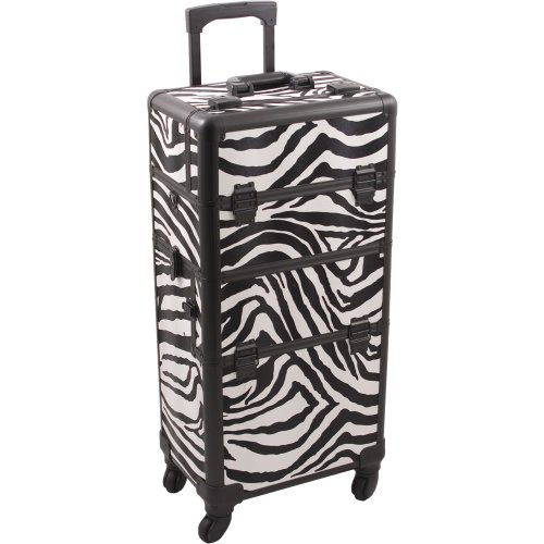 HIKER Makeup Rolling Case HK6501 2 in 1 Hair Stylist Orgainzer, 3 Slide and 1 Removable Tray, 4 Wheel Spinner, Locking with Mirror, Extra Lid and Shoulder Strap, White Zebra