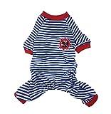 Pet Cartoon Striped Cotton Pajamas Small Jumpsuit Coat Shirt Clothes (L, Blue)