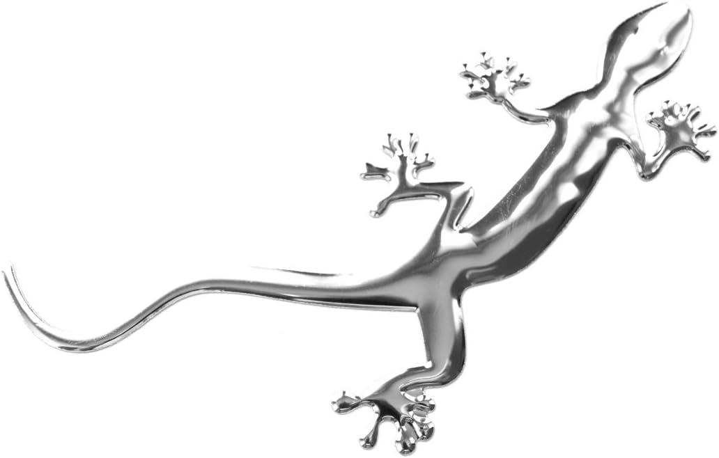 Preskin 3d Gecko Süßer Silbener Hochglanz Aufkleber Selbstklebende Metall Optik Relief Sticker Decal Für Auto Kfz Motorrad Roller Notebook Haustür Kühlschrank Auto