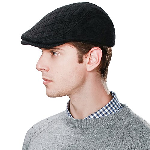 28c19cec439 SIGGI Wool Newsboy Cap for Men Winter Hat Cold Weather Black Ivy Flat Cap  Knit British