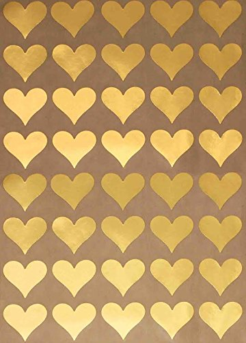 Gold Heart Metallic Sticker Envelope Seals - Gold Color coding labels Permanent adhesive - 200 pack (Gold Sticker Envelope Seal compare prices)