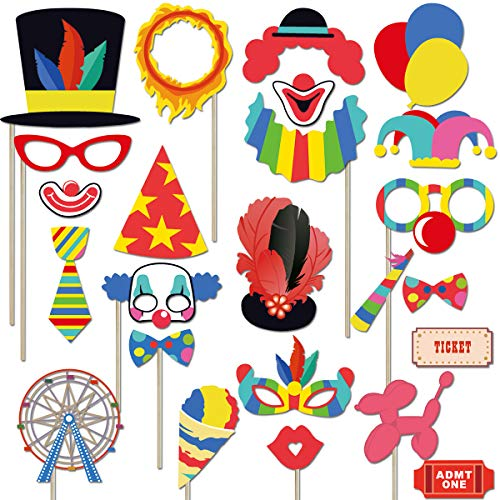 Circus Carnival Birthday Photo Booth Props Kit(24Pcs) Circus Carnival Party Favors for Birthday Bachelorette Baby Shower Party Dress-up Acessories with Wood Sticks]()