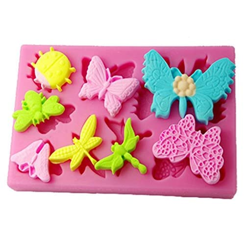FOUR-C Silicone Mold Butterfly and Dragonfly Cup Cake Mould Color Pink