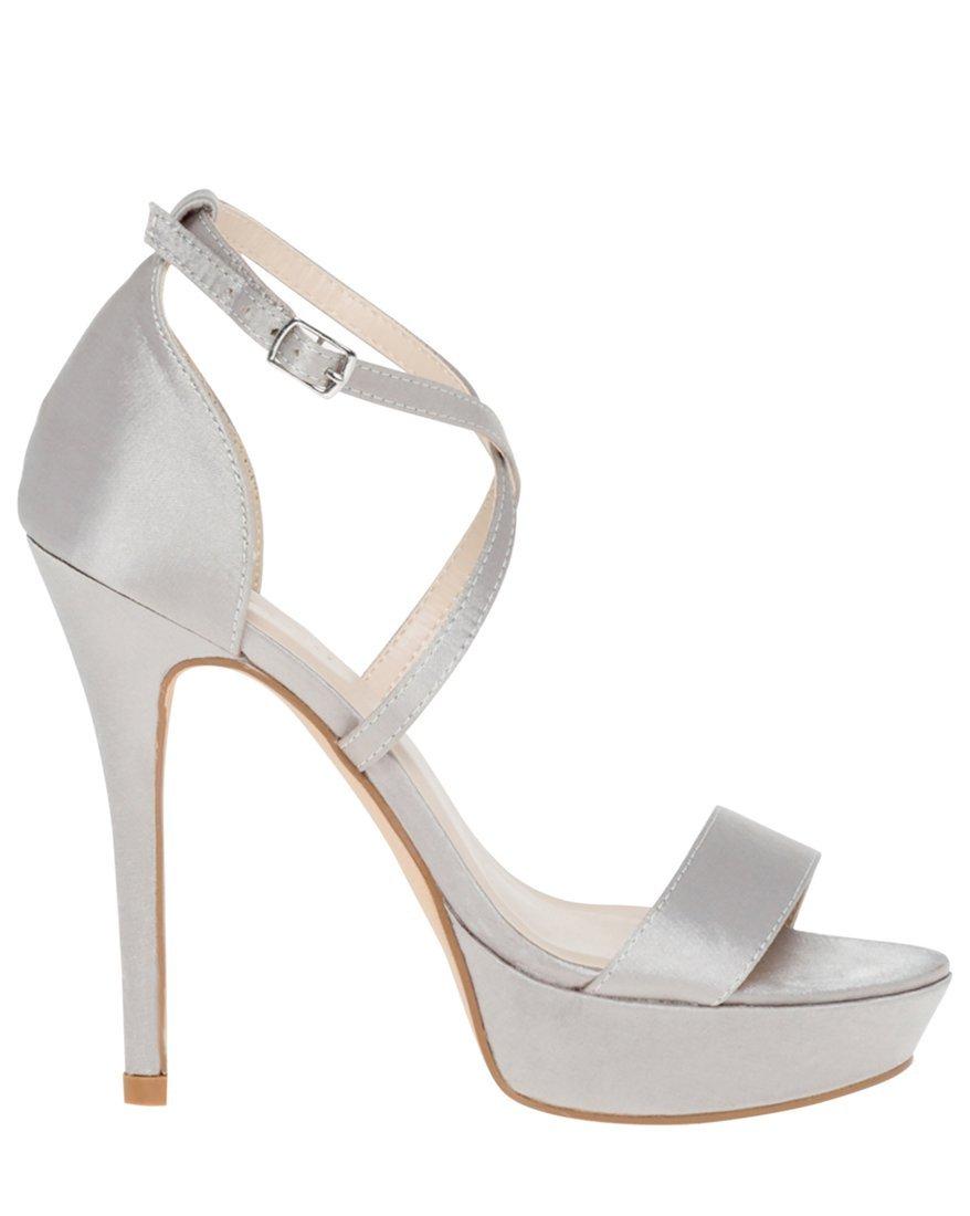 LE CHÂTEAU Women's Satin Criss-Cross Platform Sandal,8,Silver