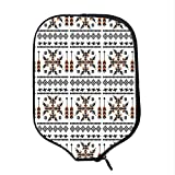 YOLIYANA Native American Decor Durable Racket Cover,Ethnic Pattern Composition with Birds and Arrows for Sandbeach,One Size