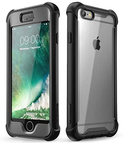 (i-Blason Case for Phone 6s / 6 (4.7 Inch), [Ares] Full-Body Rugged Clear Bumper Case with Built-in Screen Protector (Black))