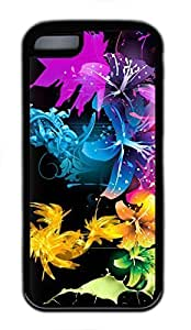 Custom Soft Black TPU Protective Case Cover for iPhone 5C,Fractal Flowers Case Shell for iPhone 5C
