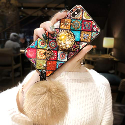 VANVENE iPhone case, iPhone Case for Ladies' Vintage Rhinestone Gold Foil Plaid with Hair Ball Lanyard (iPhone X/XS)