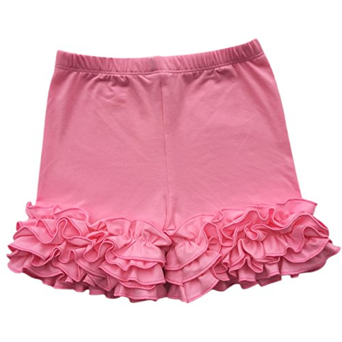 IBTOM CASTLE Baby Girls Double Icing Ruffle Cotton Shorts Bottoms Boutique Pants Pink 3-4T