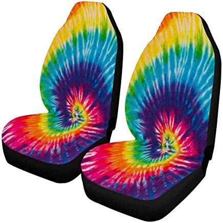 INTERESTPRINT Abstract Swirl Design Tie Dye Auto Seat Covers Full Set of 2, Universal fit for Vehicles, Sedan and Jeep