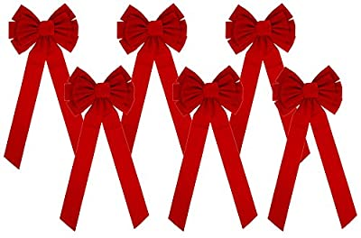 Iconikal 10-Loop Red Velvet Bows 11.5 x 26-Inch, 6-Pack