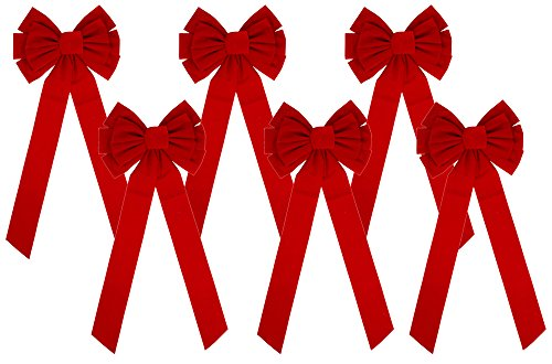 Velvet Bows 11.5 x 26-Inch, 6-Pack (Red Bows)