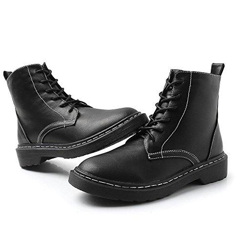 cashmere fitto black pizzo con selvaggio Nel Scarpe stivali da slittata Breve moda piatto britannico paragrafo donna Martin nuovo Stile Retro UpHqwpBP