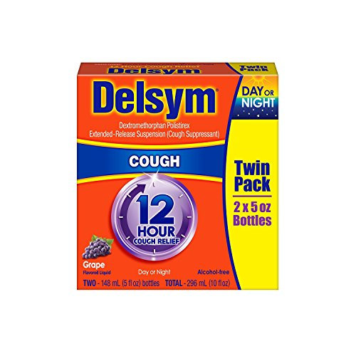 Delsym 12 Hour Cough Relief Alcohol Free Grape Flavored Liquid Cough Suppressant 5 Ounce Bottle (Pack of 2) ()