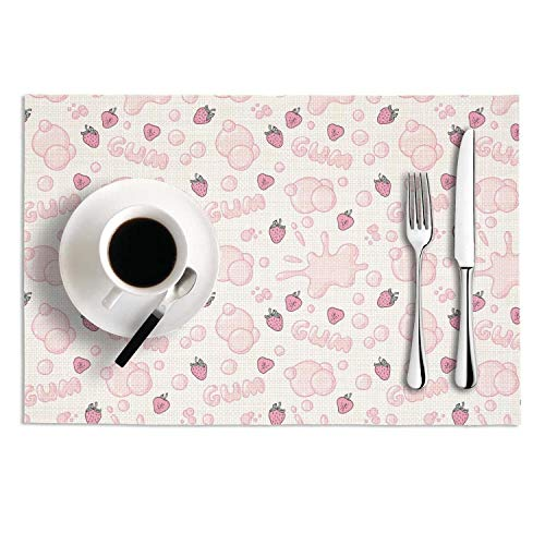 (MAD DAFGA Strawberry Bubble Gum PVC-Set of 2 Heat-Resistant Placemats Non-Slip Dining Table Mats)