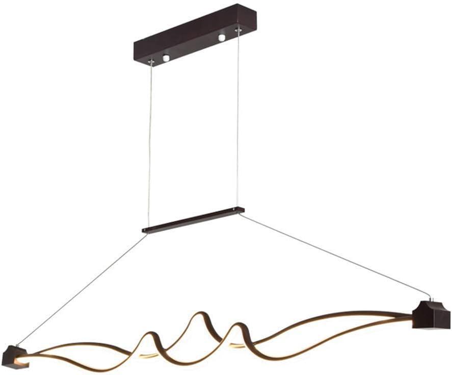 LED 45W Lámpara Colgante Regulable Con Control Remoto Altura Ajustable Lámpara Colgante Grande De Acrílico De Aluminio Curva Marrón Colgante Para La Mesa De Comedor Sala De Estar Cocina Iluminación: Amazon.es: Hogar