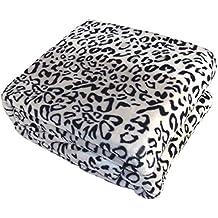 BOON Light Weight Animal Safari Style Black White Leopard Printed Flannel Fleece Blanket (Queen)