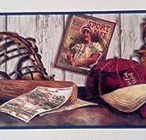 Blue Mountain Wallcoverings 5815120 Cooperstown Nostalgic Baseball Prepasted Wall Border