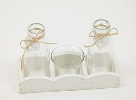Vassoi In Legno Con Vetro : Bellaflor vassoio in legno con bottigliette di vetro e