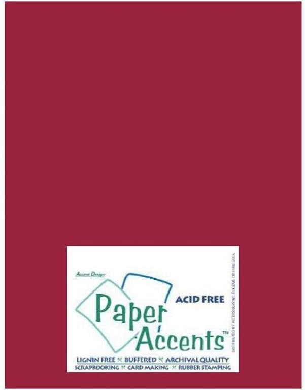 Accent Design Paper Accents Cdstk Smooth 8.5x11 65# Dark Red Bulk