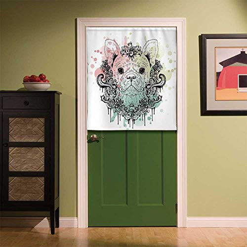 YOLIYANA Animal Fabric Art Door Curtain,French Bulldog with Floral Wreath on Brushstroke Watercolor Print for Locker Room Store Privacy Space,33.46''W x 39.37''H